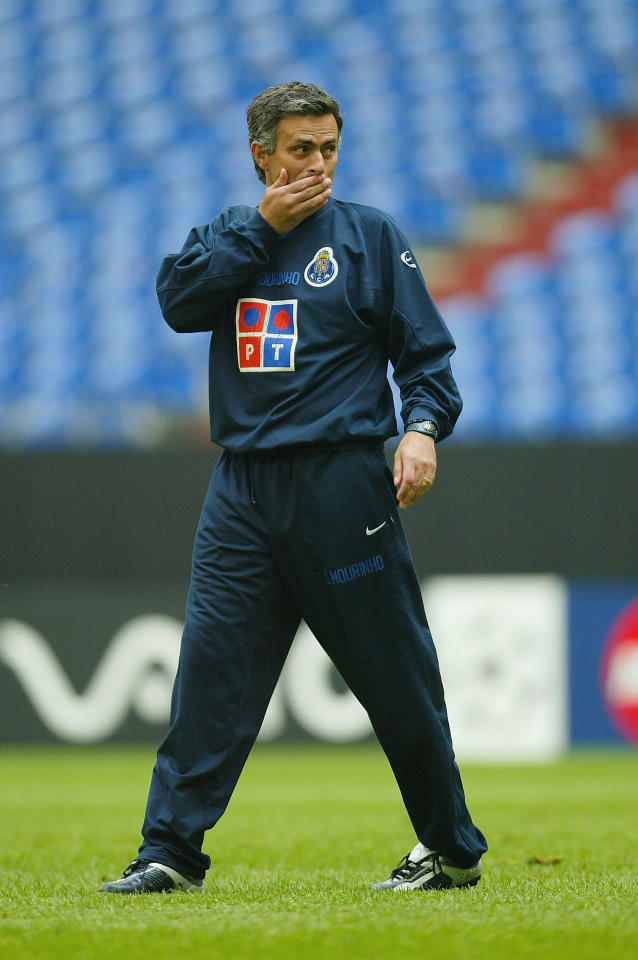 GELSENKIRCHEN, GERMANY - MAY 25:   Jose Mourinho, Coach of FC Porto is seen during training before The UEFA Champions League Final at The  Areana Auf Schalke on May 25, 2004 in Gelsenkirchen, Germany.  (Photo by Stuart Franklin/Getty Images)