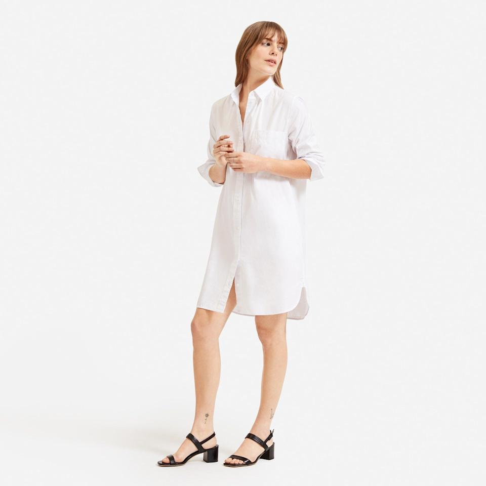 """<br> <br> <strong>Everlane</strong> The Cotton Shirtdress, $, available at <a href=""""https://go.skimresources.com/?id=30283X879131&url=https%3A%2F%2Fwww.everlane.com%2Fproducts%2Fwomens-cotton-shirtdress-white"""" rel=""""nofollow noopener"""" target=""""_blank"""" data-ylk=""""slk:Everlane"""" class=""""link rapid-noclick-resp"""">Everlane</a>"""