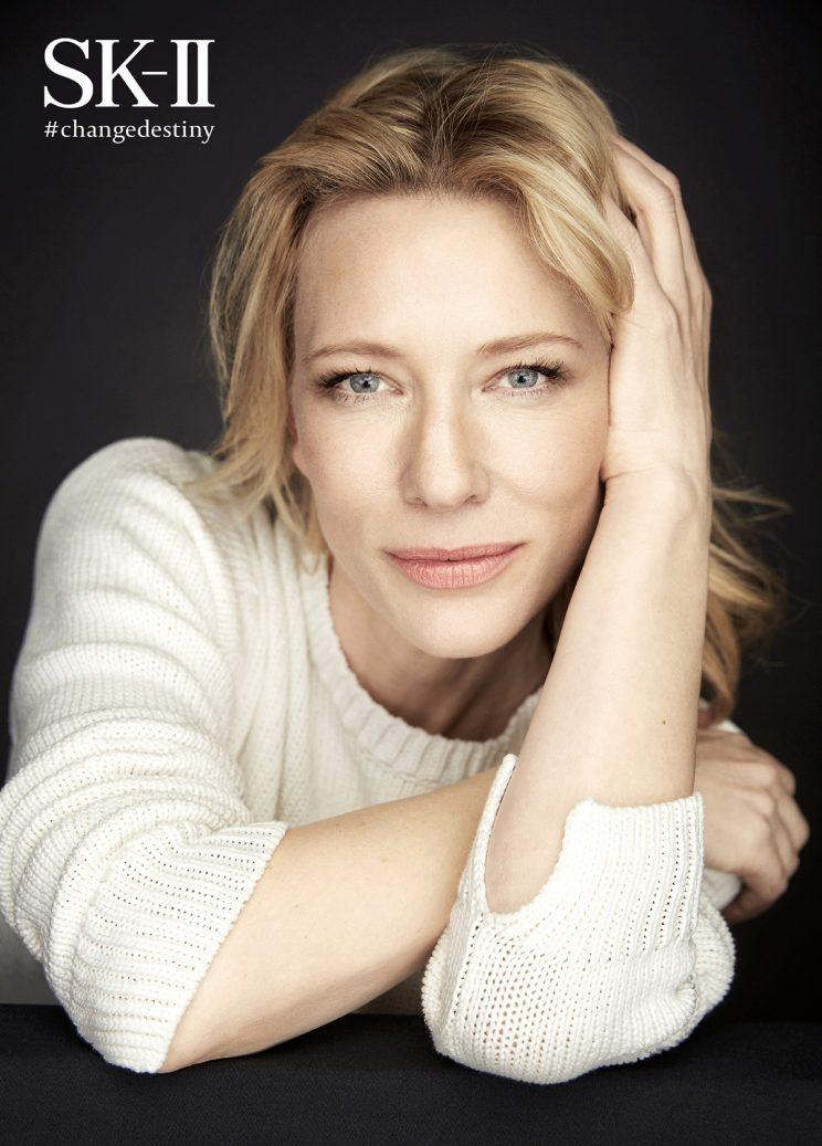 Cate Blanchett poses for brand SK-II
