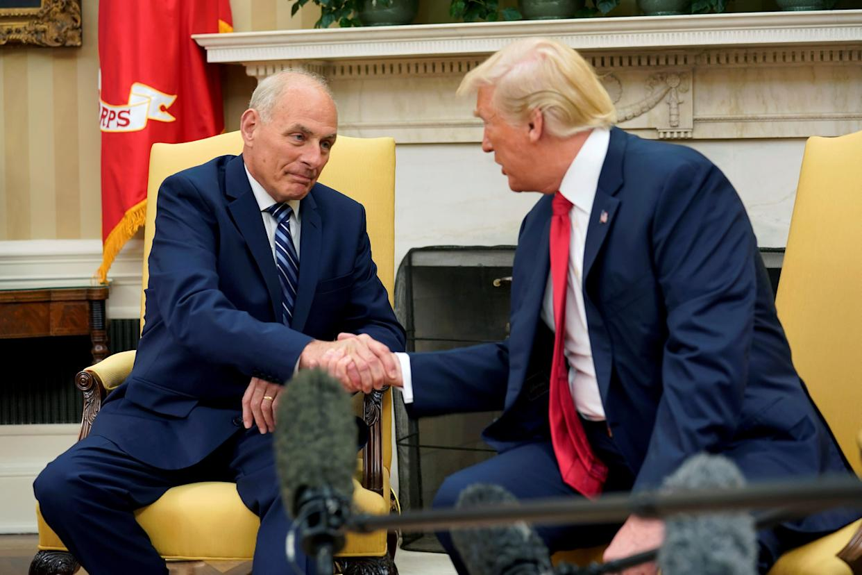 President Donald Trump shakes hands with John Kelly after he was sworn in as White House Chief of Staff in the Oval Office of the White House in Washington, U.S., July 31, 2017 (Photo: Joshua Roberts / Reuters)
