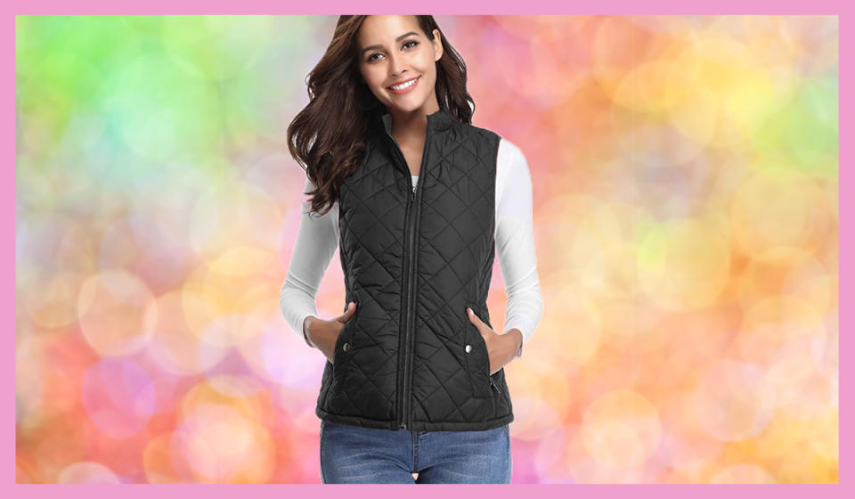 This slimming, lightweight, perfect-length vest layer is $12 off. You'll use it every day. (Photo: Amazon)
