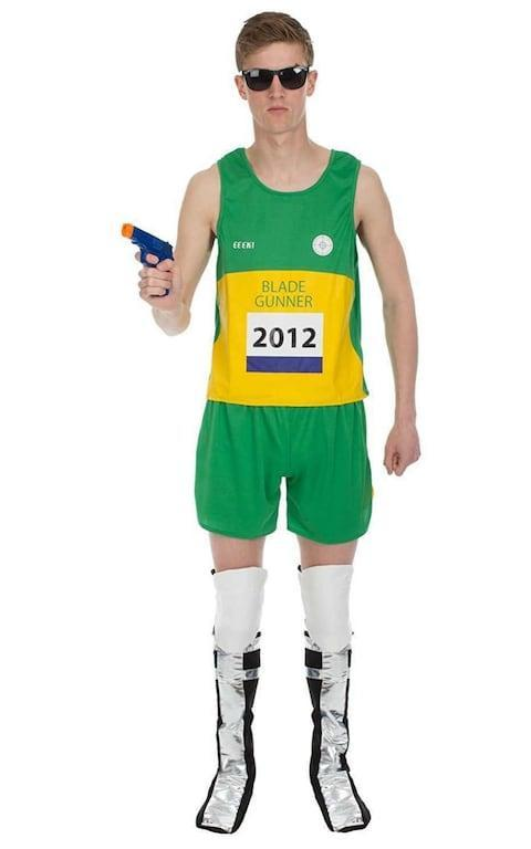 <span>Mens Adult Oscar Pistorius Blade Runner Athlete Fancy Dress Costume Halloween Controversial Sport Sporting Uniform South Africa Outfit</span>