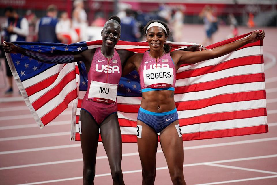 Gold medalist Athing Mu, left, and bronze medalist Raevyn Rogers celebrate after their finish in the women's 800 meters at the Tokyo Olympics.