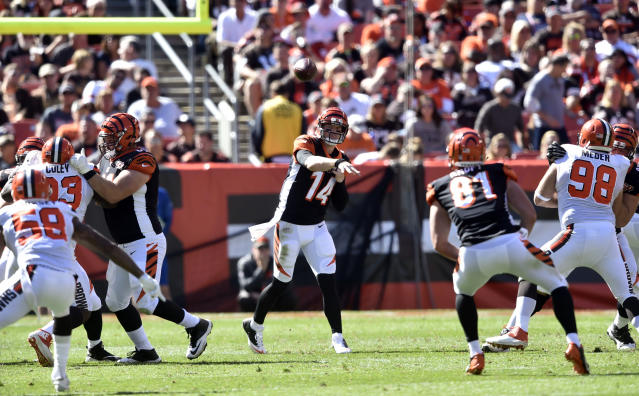 Bengals quarterback Andy Dalton threw four touchdowns against the winless Browns. (AP)