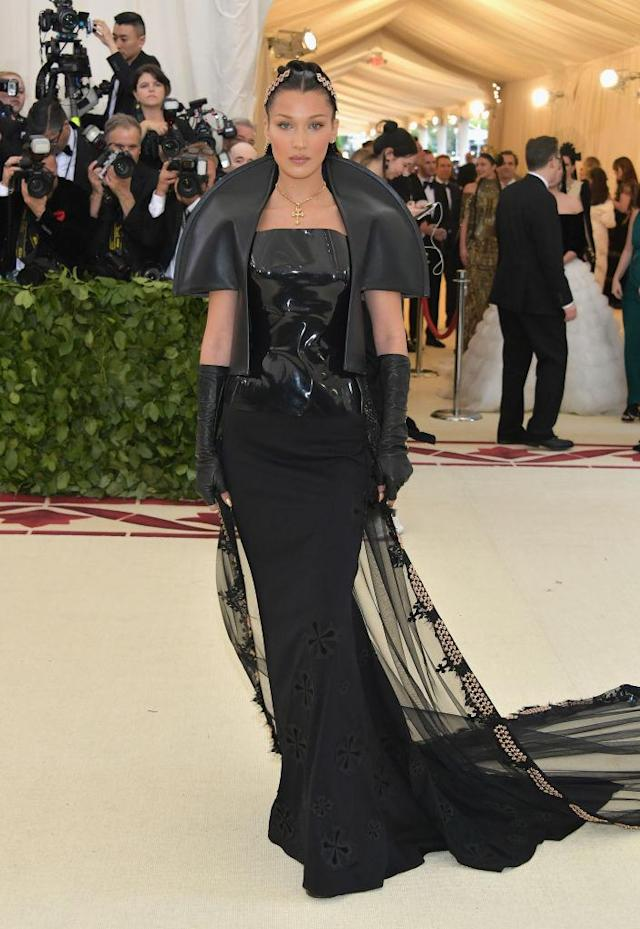 <p>The younger Hadid attended her fourth Met Gala in a vampy Chrome Hearts look. (Photo: Getty Images) </p>
