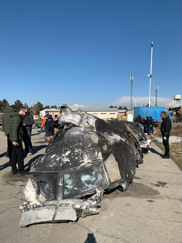 Ukraine International Airlines' Boeing 737-800 plane wreckage is seen in a picture from investigation team released in Kiev