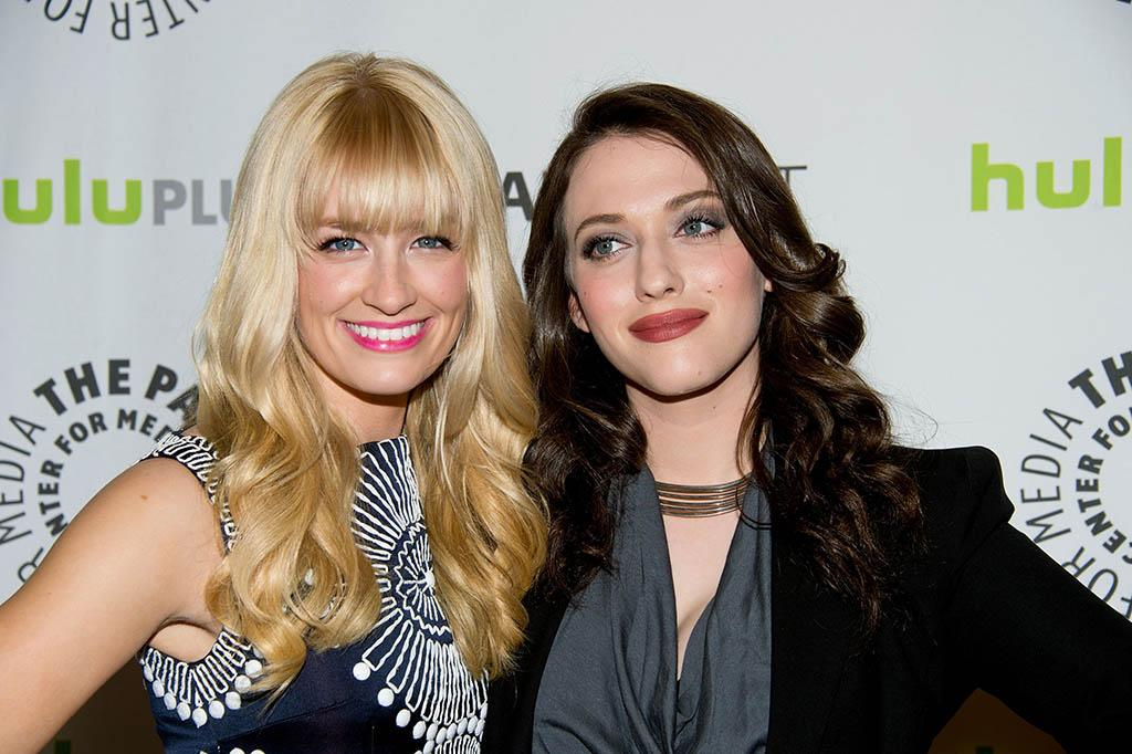 """Beth Behrs and Kat Dennings attend the 30th Annual PaleyFest featuring the cast of """"2 Broke Girls"""" at the Saban Theatre on March 14, 2013 in Beverly Hills, California."""