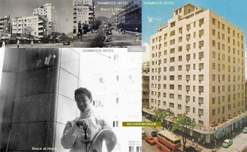 An undated photo of a teenage Bruce Lee with the Shamrock Hotel in the background. The nine-storey hotel at 223 Nathan Road is across the road from the Lee family's home at 218 Nathan Road during the 1950s. Photo: Hong Kong Heritages Facebook