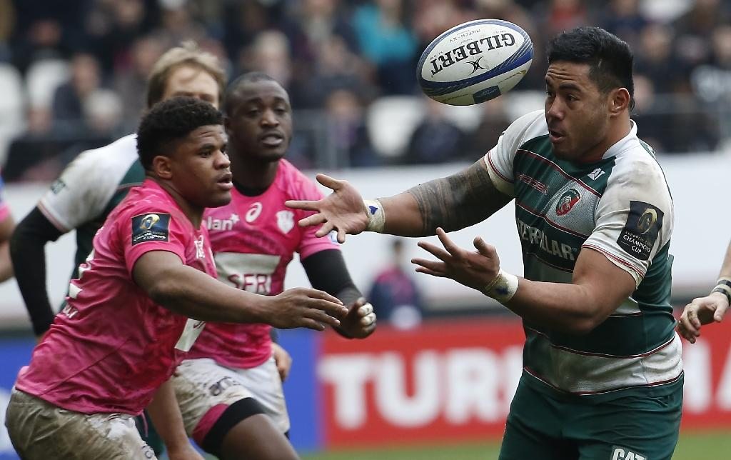 Leicester's center from England Manu Tuilagi (R) vies for the ball during the European Champions Cup rugby union match between Stade Francais and Leicester Tigers, on January 24, 2016, at the Jean Bouin stadium in Paris. AFP PHOTO / THOMAS SAMSONLeicester's center from England Manu Tuilagi (R) vies for the ball during the European Champions Cup rugby union match between Stade Francais and Leicester Tigers, on January 24, 2016, at the Jean Bouin stadium in Paris. AFP PHOTO / THOMAS SAMSON (AFP Photo/THOMAS SAMSON)