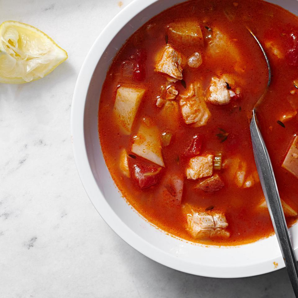 <p>This healthy fish chowder recipe with a tomato base is a lighter alternative to creamy soups. If you prefer a stronger-flavored fish in your chowder recipe, try salmon or swordfish instead of the cod. Serve the chowder with oyster crackers, hot sauce and a baby kale Caesar salad.</p>