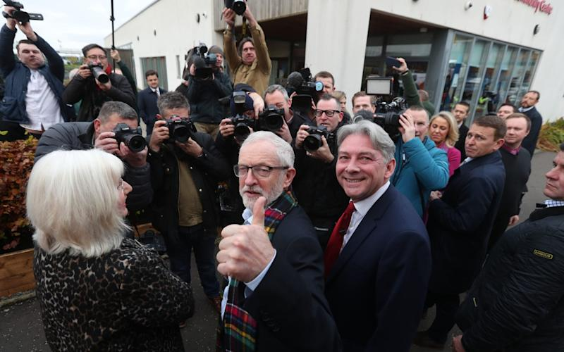 Labour Party leader Jeremy Corbyn and Scottish Labour leader Richard Leonard visit the Heart of Scotstoun Community Centre in Glasgow - PA