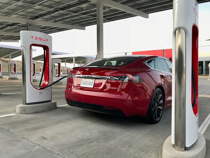 A Tesla vehicle at a Supercharger station in California.