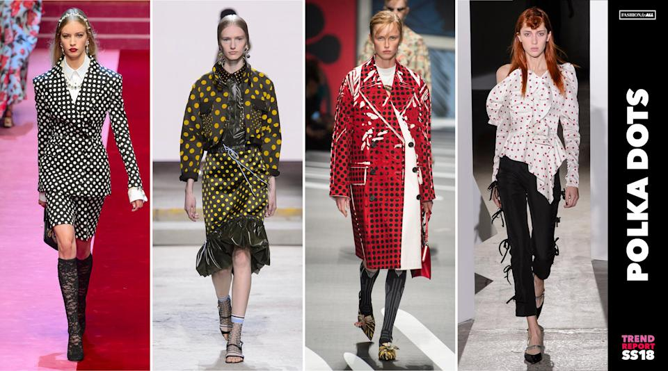 <p>'70s and '80s style polka dots have resurfaced onto workwear, coats, and statement blouses for spring 2018. No frizzy hair required for these looks. (Photo: ImaxTree) </p>