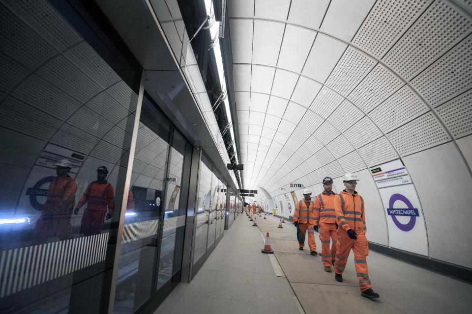 A platform for the new Elizabeth Line at Whitechapel station in east London as the latest developments in the Crossrail project continue to progress.