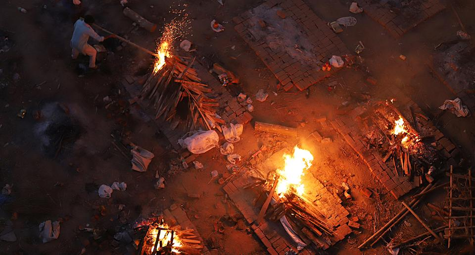 Funeral pyres burning in India.