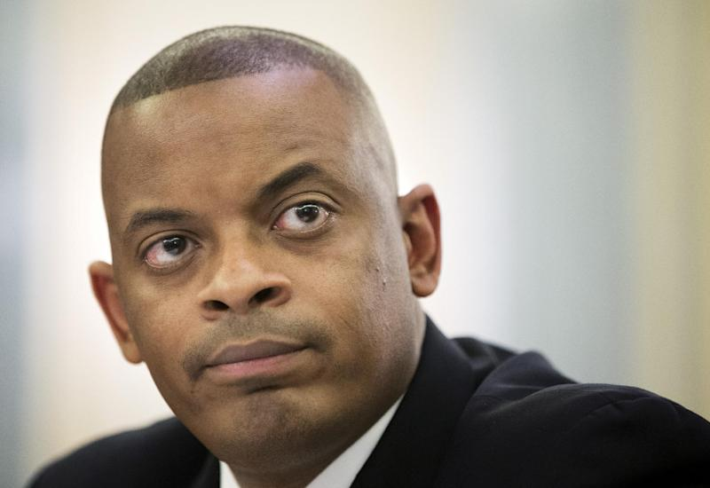 Transportation Secretary nominee, Charlotte, N.C. Mayor Anthony Foxx testifies on Capitol Hill in Washington, Wednesday, May 22, 2013, before the Senate Commerce, Science and Transportation Committee hearing on his nomination.  (AP Photo/Manuel Balce Ceneta)