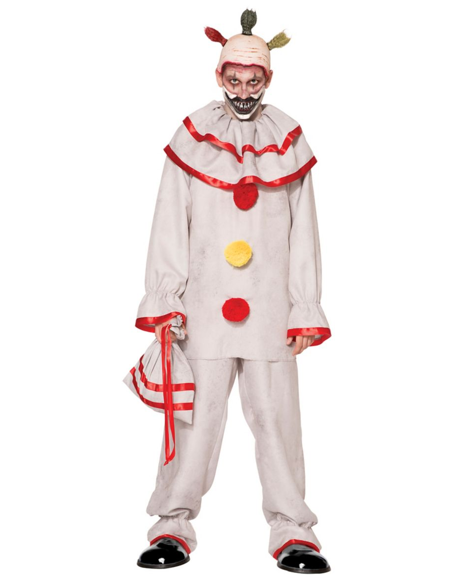 """<p><strong>Spirit Halloween</strong></p><p>spirithalloween.com</p><p><strong>$59.99</strong></p><p><a href=""""https://go.redirectingat.com?id=74968X1596630&url=https%3A%2F%2Fwww.spirithalloween.com%2Fproduct%2Fhalloween-costumes%2Fmens-costumes%2Fmens-scary-clown-costumes%2Fadult-twisty-the-clown-costume-american-horror-story%2Fpc%2F4742%2Fc%2F683%2Fsc%2F1297%2F104166.uts&sref=https%3A%2F%2Fwww.goodhousekeeping.com%2Fholidays%2Fhalloween-ideas%2Fg4564%2Fscary-halloween-costumes%2F"""" rel=""""nofollow noopener"""" target=""""_blank"""" data-ylk=""""slk:Shop Now"""" class=""""link rapid-noclick-resp"""">Shop Now</a></p><p>You don't need fancy makeup skills to portray the famously creepy <em>American Horror Story</em> character. This costume set comes with a half mask along with the clown outfit, but the <a href=""""https://go.redirectingat.com?id=74968X1596630&url=https%3A%2F%2Fwww.spirithalloween.com%2Fproduct%2Fred-clown-shoes%2F3311.uts%3FExtid%3Dsf_froogle&sref=https%3A%2F%2Fwww.goodhousekeeping.com%2Fholidays%2Fhalloween-ideas%2Fg4564%2Fscary-halloween-costumes%2F"""" rel=""""nofollow noopener"""" target=""""_blank"""" data-ylk=""""slk:clown shoes"""" class=""""link rapid-noclick-resp"""">clown shoes</a> are sold separately. </p>"""