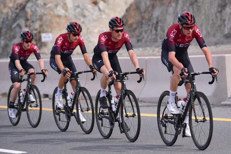 INEOS team rider Chris Froome of England R rides during the second stage of the UAE Cycling Tour from Hatta to Hatta Dam on February 24 2020 Photo by GIUSEPPE CACACE AFP Photo by GIUSEPPE CACACEAFP via Getty Images