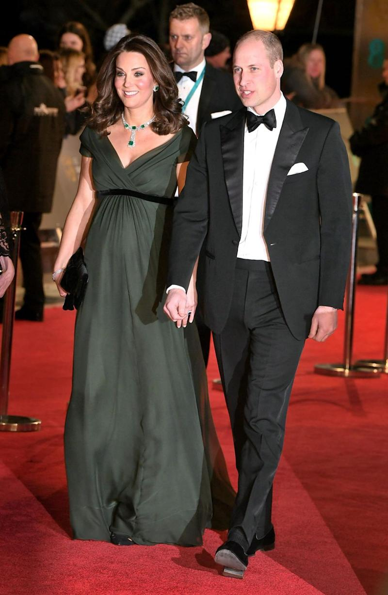 With just months to go until the birth of her third child, Kate was seen hitting the red carpet with husband William. Photo: Getty
