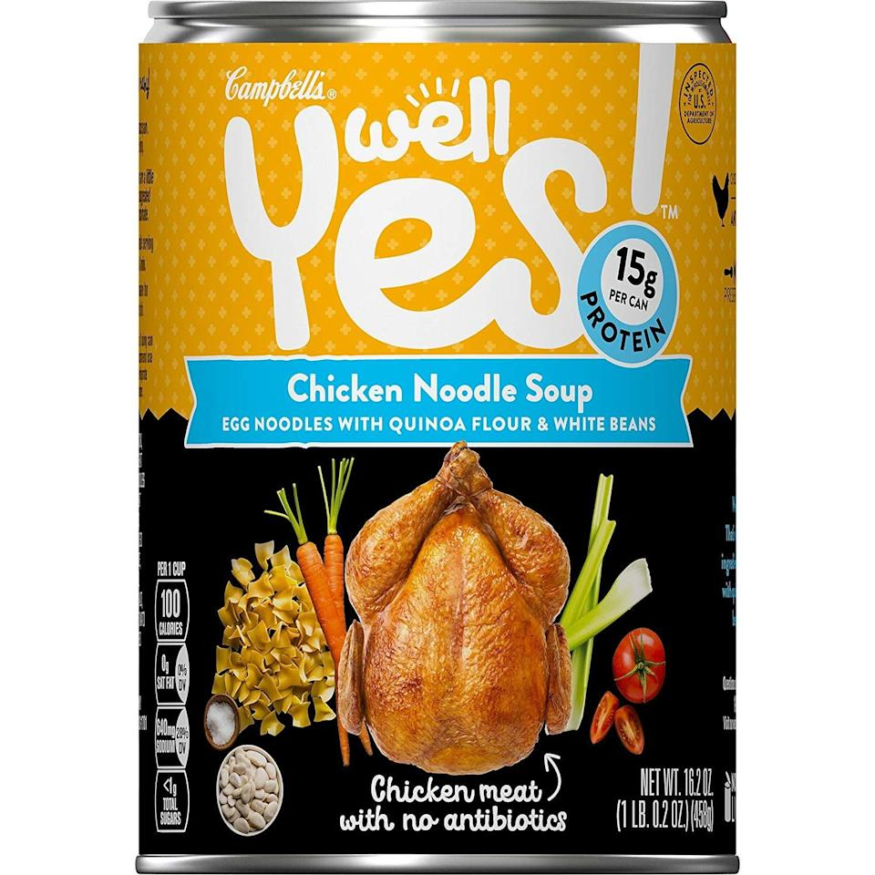 <p>If you're looking for a low-carb choice, try this classic <span>Campbell's Well Yes! Chicken Noodle Soup</span> ($32 for 12). It contains only 10 grams of net-carbs, but has 15 grams of healthy protein.</p>