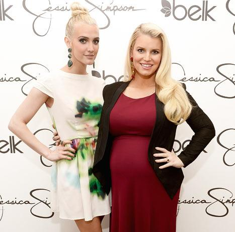 Jessica Simpson Plays Up Growing Baby Bump in Clingy Maxi Dress at Mall Appearance With Sister Ashlee Simpson: Picture