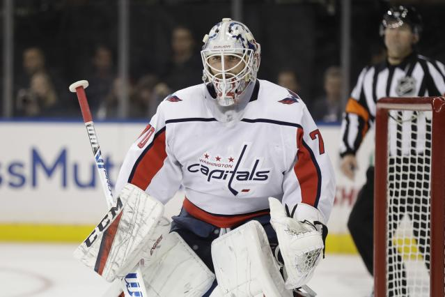 Washington Capitals goaltender Braden Holtby watches play during the second period of the team's NHL hockey game against the New York Rangers on Wednesday, Nov. 20, 2019, in New York. (AP Photo/Frank Franklin II)