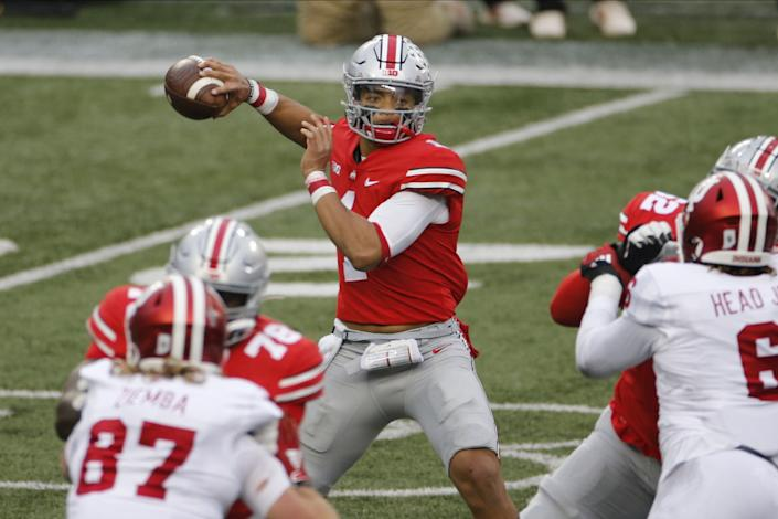 Ohio State quarterback Justin Fields throws a pass against Indiana