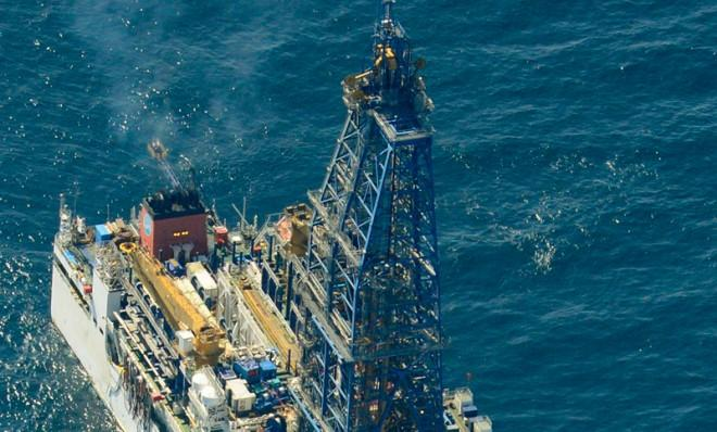 A Japanese deep-sea drilling vesselin the Pacific, after extracting gas from methane hydrate deposits for the first time ever.