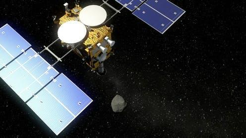 """<span class=""""caption"""">Artist impression of Hayabusa 2 approaching asteroid Ryugu.</span> <span class=""""attribution""""><span class=""""source"""">Deutsches Zentrum für Luft- und Raumfahrt (DLR)/wikipedia</span>, <a class=""""link rapid-noclick-resp"""" href=""""http://creativecommons.org/licenses/by-sa/4.0/"""" rel=""""nofollow noopener"""" target=""""_blank"""" data-ylk=""""slk:CC BY-SA"""">CC BY-SA</a></span>"""