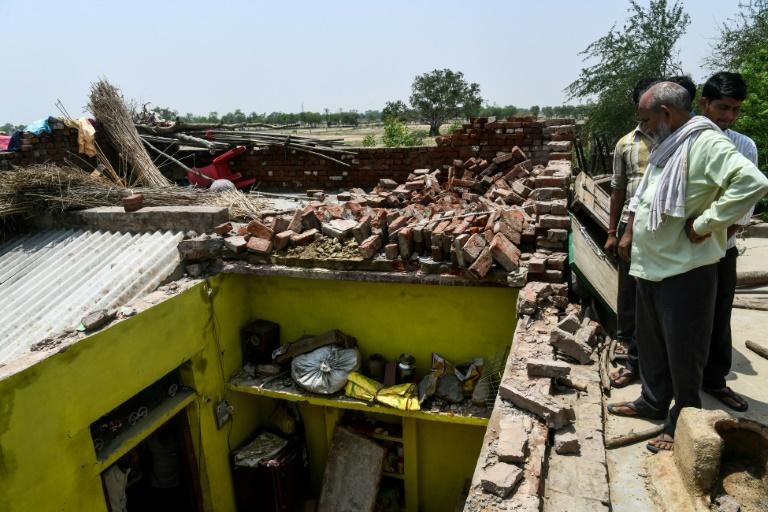 Twenty-four-year-old Sunil Kumar was killed when the ceiling collapsed in fierce winds in Kheragarh on the outskirts of Agra