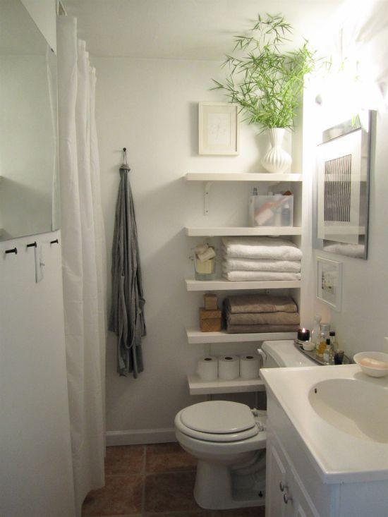 """<p>Bathrooms always present an organizing challenge, just because the room has such limited space to begin with. You can squeeze a little more storage in by adding floating shelves in the corner near the toilet.</p><p><a href=""""https://theorderobsessed.com/2011/07/12/update-my-bathroom/"""" rel=""""nofollow noopener"""" target=""""_blank"""" data-ylk=""""slk:See more at The Order Obsessed »"""" class=""""link rapid-noclick-resp""""><em>See more at The Order Obsessed »</em></a></p>"""