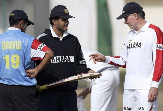 Sourav Ganguly, Rahul Dravid and Greg Chappell.