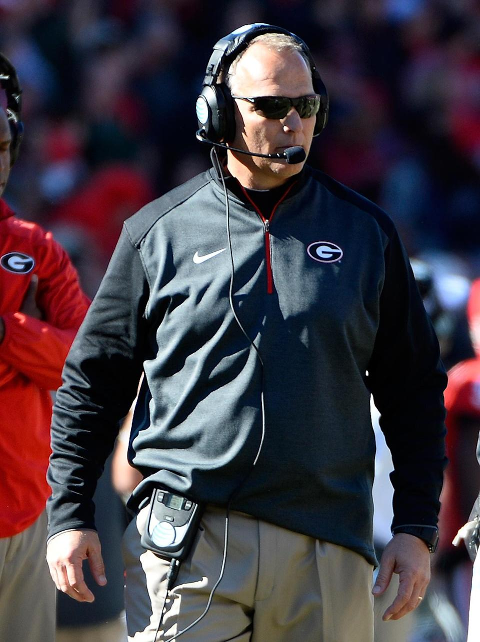 Georgia head coach Mark Richt watches from the sideline against Georgia Tech during the first half of an NCAA college football game Saturday, Nov. 29, 2014, in Athens, Ga. (AP Photo/David Tulis)