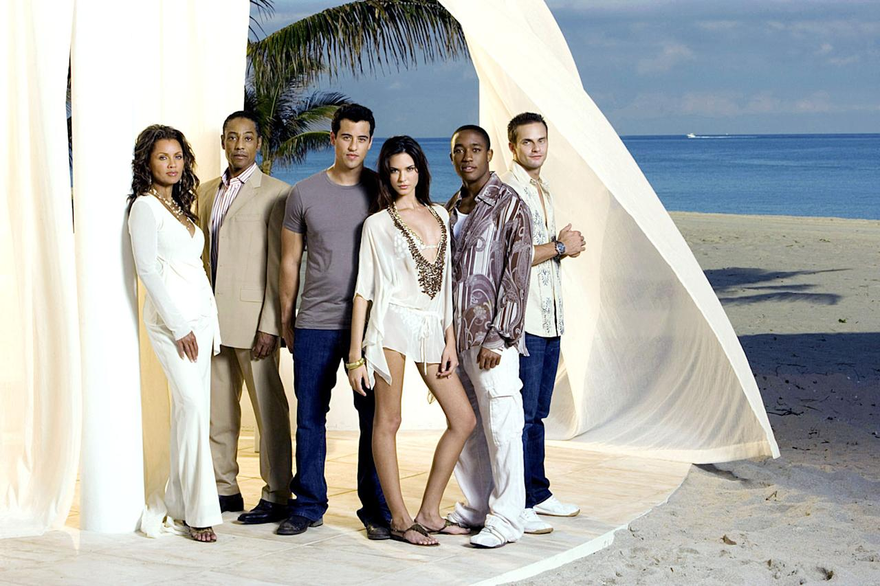 "Vanessa Williams, Giancarlo Esposito, Marcus Coloma, Odette Yustman, Lee Thompson Young, and Chris Johnson in ""South Beach."""