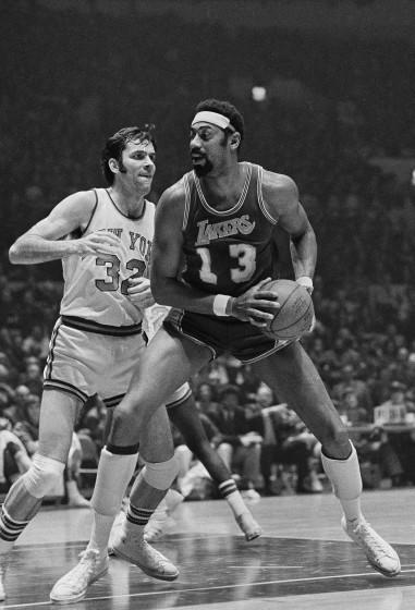 Lakers' Wilt Chamberlain in action against the New York Knicks at New York's Madison Square Garden.