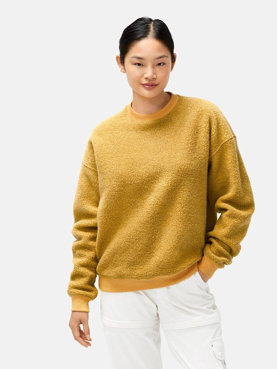 """Outdoor Voices' best-selling plush crewneck isn't a want but a <em>need</em>. We're vibing the Dijon mustard-hue, which somehow feels both seasonless and on-trend. $98, Outdoor Voices. <a href=""""https://www.outdoorvoices.com/products/w-megafleece-sweatshirt?variant=32712724774990"""" rel=""""nofollow noopener"""" target=""""_blank"""" data-ylk=""""slk:Get it now!"""" class=""""link rapid-noclick-resp"""">Get it now!</a>"""