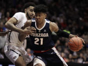Gonzaga's Rui Hachimura (21) drives the ball against Pacific's Jeremiah Bailey during the first half of an NCAA college basketball game Thursday, Feb. 28, 2019, in Stockton, Calif. (AP Photo/Ben Margot)