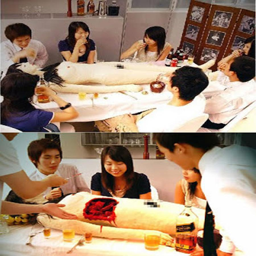 """<p>Sushi is served—from the naked body of a dough-formed human? This restaurant in Tokyo rolls out a naked body filled with sashimi and sushi, which the patrons are supposed to cut up and eat. A red condiment is added for the illusion of bleeding once the body has been cut.<i><a href=""""http://wierdestrestaurants.blogspot.ca/2010/09/cannibalistic-sushi.html"""" rel=""""nofollow noopener"""" target=""""_blank"""" data-ylk=""""slk:(Photo Credit)"""" class=""""link rapid-noclick-resp""""> (Photo Credit)</a></i></p>"""