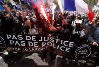 French police stage protest against violence in front of the National Assembly In Paris