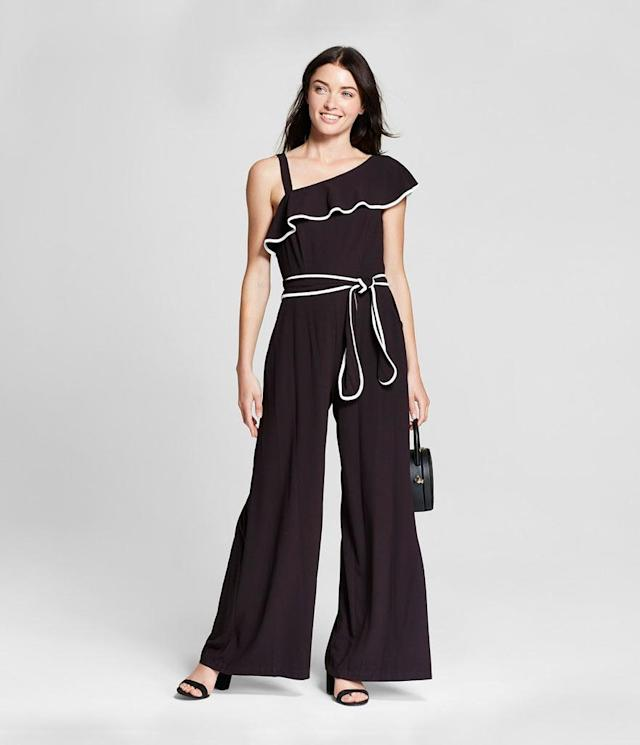 "<p>Women's One Shoulder Crepe Jumpsuit, $55, <a href=""https://www.target.com/p/women-s-one-shoulder-crepe-jumpsuit-melonie-t-black-white/-/A-53489709?preselect=53295321#lnk=sametab"" rel=""nofollow noopener"" target=""_blank"" data-ylk=""slk:target.com"" class=""link rapid-noclick-resp"">target.com</a> </p>"