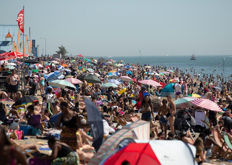 Large crowds gathered at Southend beach last week, the period covered by today's data, as temperatures soared due to a huge heatwave hitting the UK (Photo: EMPICS Entertainment)