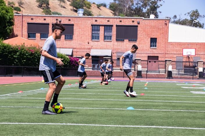 "L.A. Cathedral soccer players work out in July under social distancing measures. <span class=""copyright"">(Courtesy of L.A. Cathedral)</span>"
