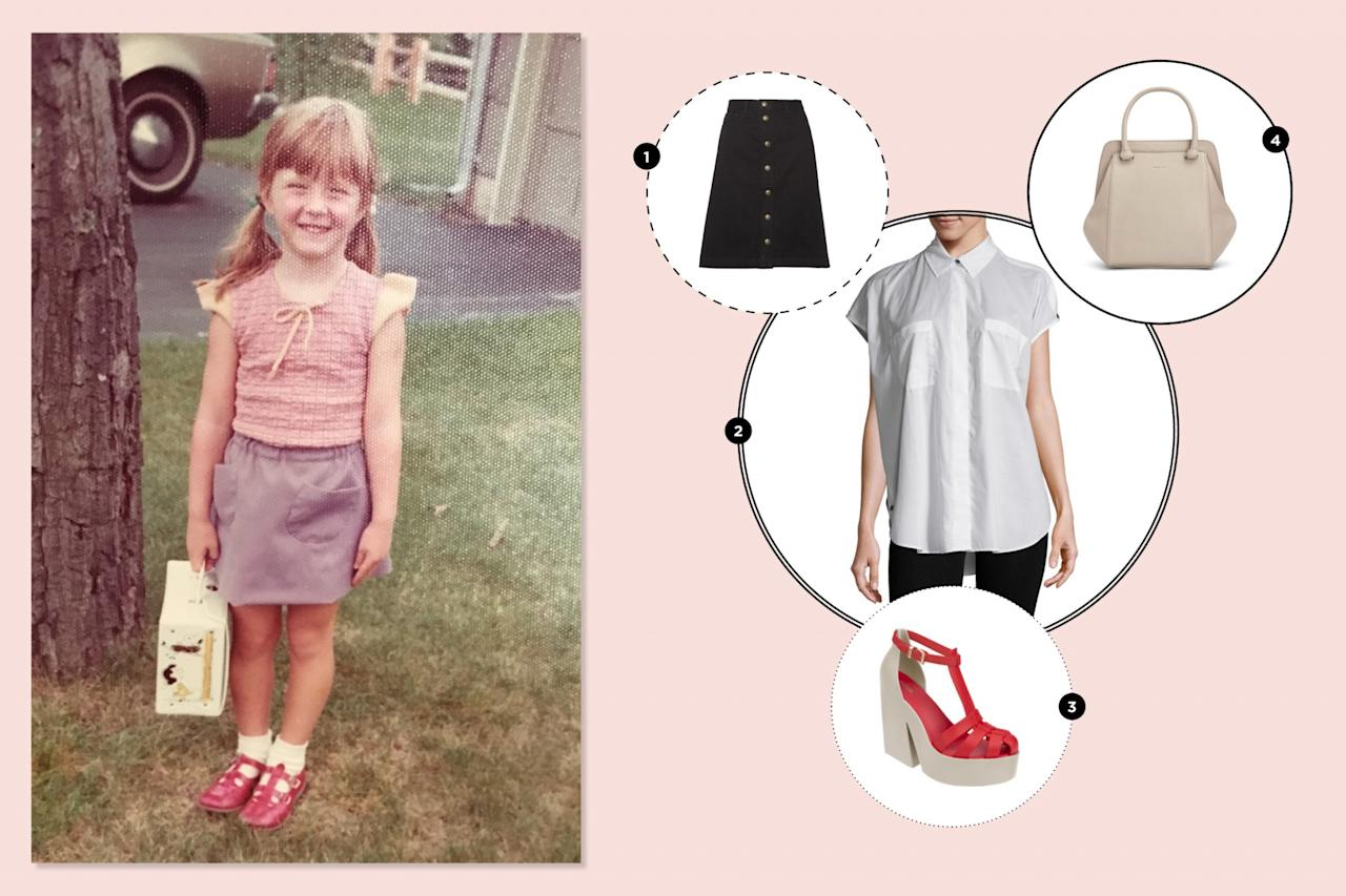 "<p>This beloved first-day-of-preschool outfit was entirely made by my mom! I love the mixing-and-matching of purple and red, and absolutely coveted that Snoopy lunchbox. I would just update the look to suit modern lines and to be more age-appropriate. —<em>Beth Greenfield, Yahoo Style + Beauty senior editor</em><br /><br /><a rel=""nofollow"" href=""https://www.net-a-porter.com/ca/en/product/875823/a_p_c__atelier_de_production_et_de_creation/therese-denim-skirt""><span>APC denim skirt, $190</span></a><br /><a rel=""nofollow"" href=""https://www.gilt.com/brand/helmut-lang/product/1175873786-helmut-lang-cap-sleeve-placket-top?origin=search""><span>Helmut Lang cap sleeve top, $99.98</span></a><br /><a rel=""nofollow"" href=""http://shopmelissa.com/sale/melissa-strips#272=557""><span>Melissa Strips chunky red gel heels, $80</span></a><br /><a rel=""nofollow"" href=""http://mattandnat.com/shop/handbags/all-handbags/sheenan-koala""><span>Matt & Nat handbag, $108.50</span></a> </p>"