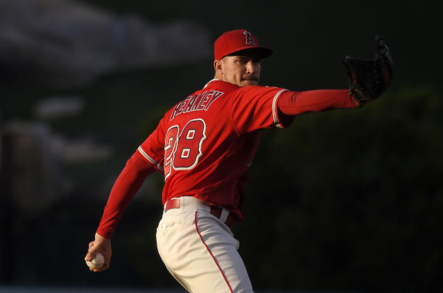 Los Angeles Angels starting pitcher Andrew Heaney throws to a Toronto Blue Jays batter during the first inning of a baseball game Friday, June 22, 2018, in Anaheim, Calif. (AP Photo/Mark J. Terrill)