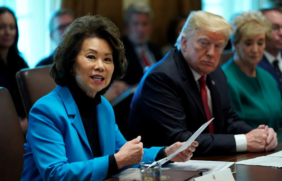 U.S. Transportation Secretary Elaine Chao speaks as U.S. President Donald Trump holds a Cabinet meeting at the White House in Washington, U.S., October 17, 2018.   REUTERS/Kevin Lamarque