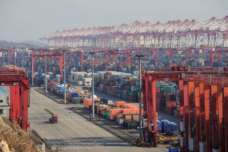 FILE PHOTO: Containers are seen at the Yangshan Deep Water Port, part of the Shanghai Free Trade Zone, in Shanghai