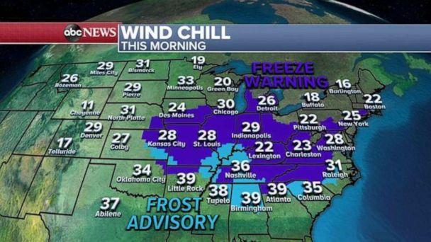 PHOTO: On Thursday, freeze alerts have been issued from Kansas to Massachusetts and today will be the last really cold day as milder weather is expected this weekend for the eastern U.S.  (ABC News)