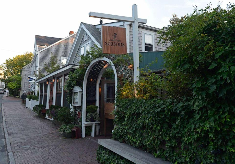 """<p>This fine-dining restaurant is another contender for having the best food on Nantucket, which is quite a feat. <a href=""""https://www.americanseasons.com/"""" rel=""""nofollow noopener"""" target=""""_blank"""" data-ylk=""""slk:American Seasons"""" class=""""link rapid-noclick-resp"""">American Seasons</a> is a picturesque representation of Nantucket architecture, art, and cuisine and you can expect to be served local, seasonal fare that embodies the island's signature flavors in the most sophisticated of ways. From line-caught cod to chicken liver-foie gras parfaits, there's something exciting for every type of foodie here. Just make sure you save room for one of American Seasons' fabulous desserts. </p>"""