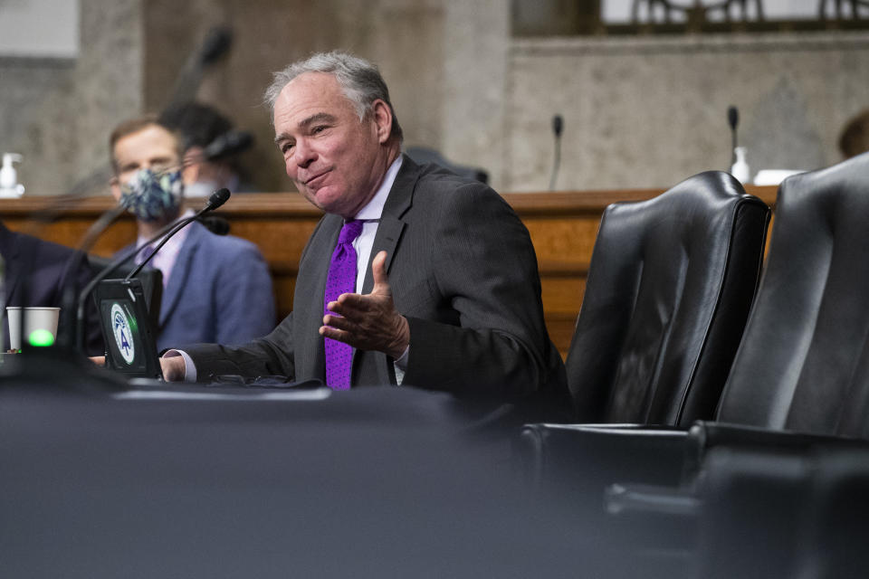 Sen. Tim Kaine, D-Va., questions United States Ambassador to the United Nations nominee Linda Thomas-Greenfield during for her confirmation hearing before the Senate Foreign Relations Committee on Capitol Hill, Wednesday, Jan. 27, 2021, in Washington. (Michael Reynolds/Pool via AP)
