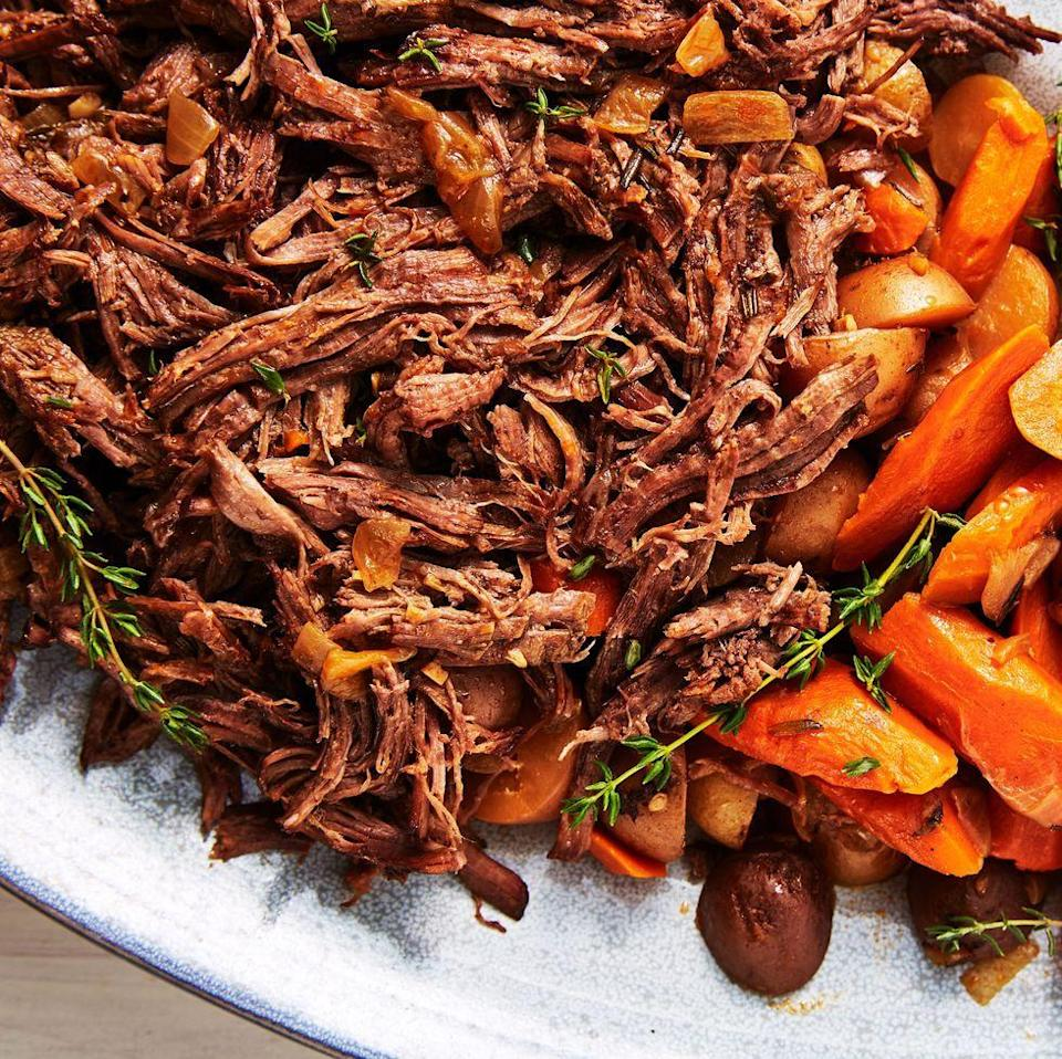 """<p>We love our Instant Pot for making roasts because it tenderises it SO quickly. What would normally take hours in the oven takes only one hour in the Instant Pot and you can cook everything at once—and even sear it, too!</p><p>Get the <a href=""""https://www.delish.com/uk/cooking/recipes/a30439071/instant-pot-pot-roast-recipe/"""" rel=""""nofollow noopener"""" target=""""_blank"""" data-ylk=""""slk:Instant Pot Pot Roast & Potatoes"""" class=""""link rapid-noclick-resp"""">Instant Pot Pot Roast & Potatoes</a> recipe.</p>"""